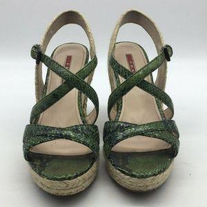 Prada Green Espadrille & Cork Wedge Heels Size 6.5